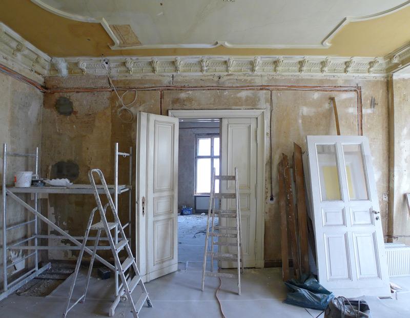 Denkmalschutz-Wohnungsumbau-Bauphase