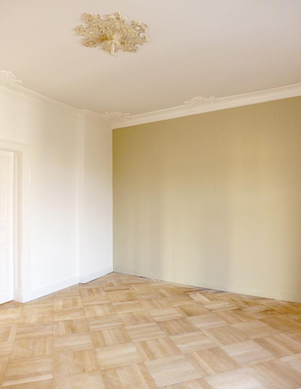 Denkmalschutz-Wohnungsumbau-Raumansicht